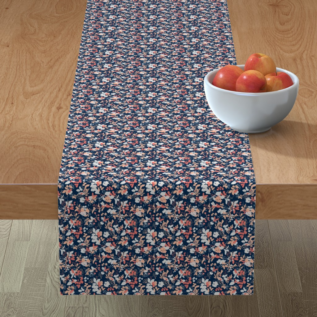 Minorca Table Runner featuring Floral - Navy with Coral, Blush, and White by hettiejoan