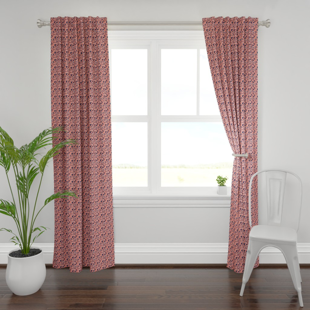 Plymouth Curtain Panel featuring Leaves - Coral with Navy and White by hettiejoan