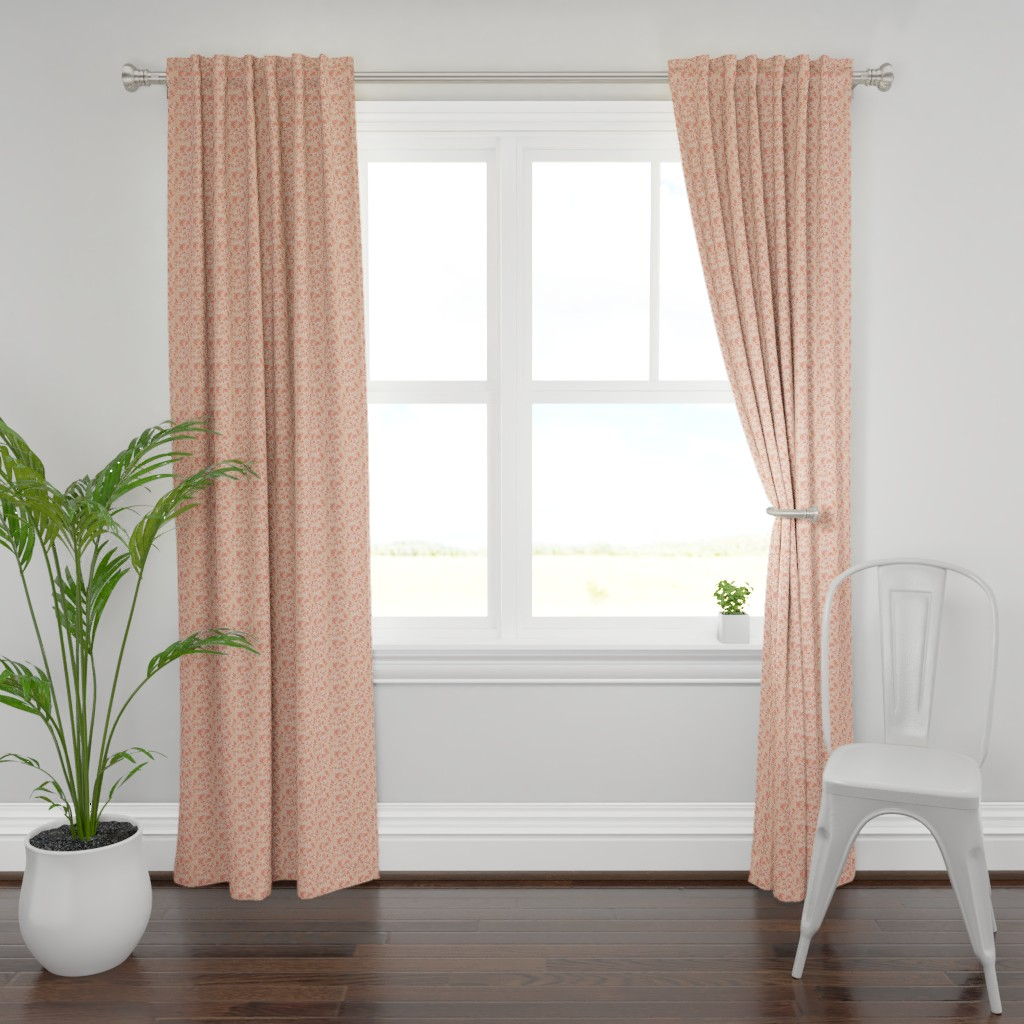 Plymouth Curtain Panel featuring Leaves - Blush with Coral and White by hettiejoan