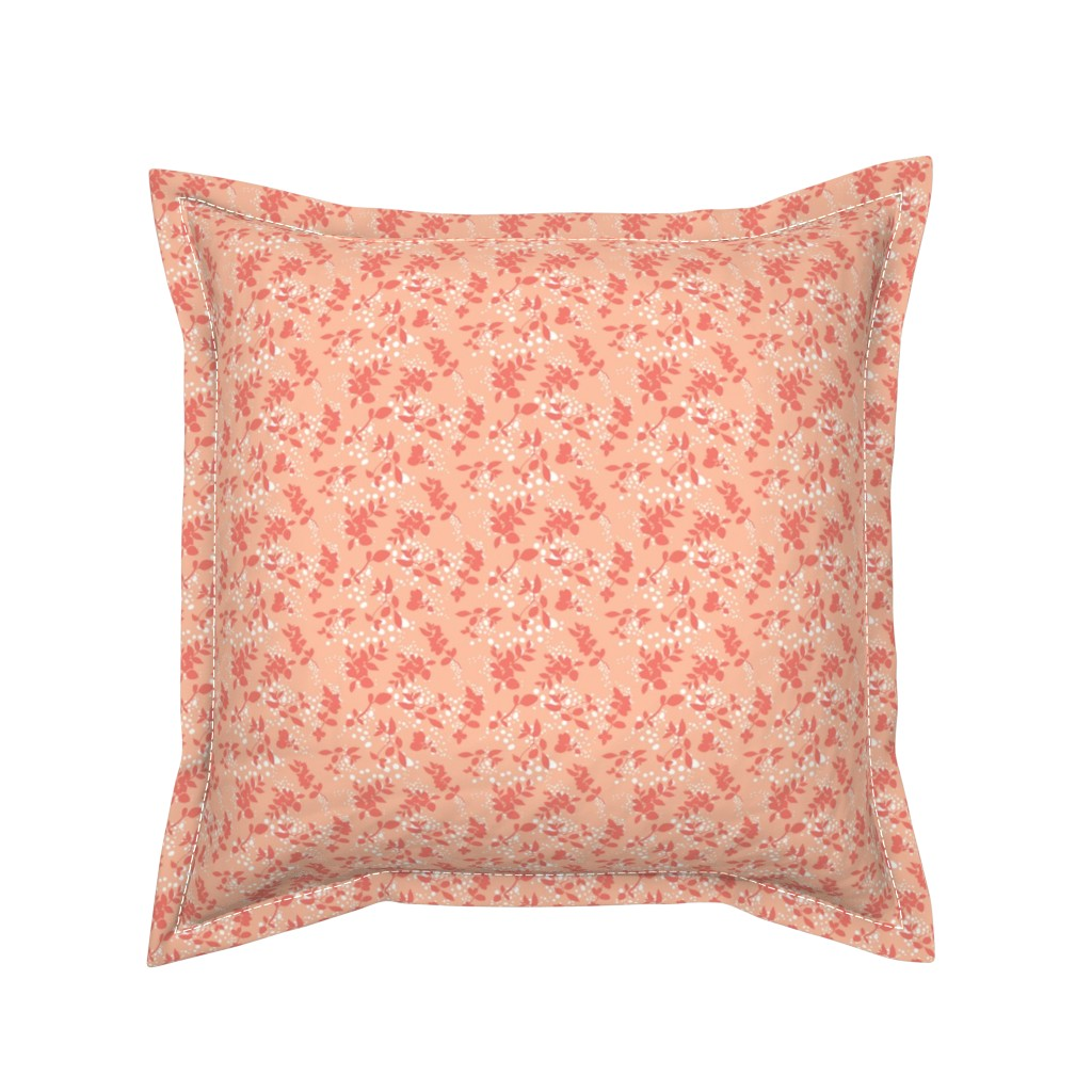 Serama Throw Pillow featuring Leaves - Blush with Coral and White by hettiejoan