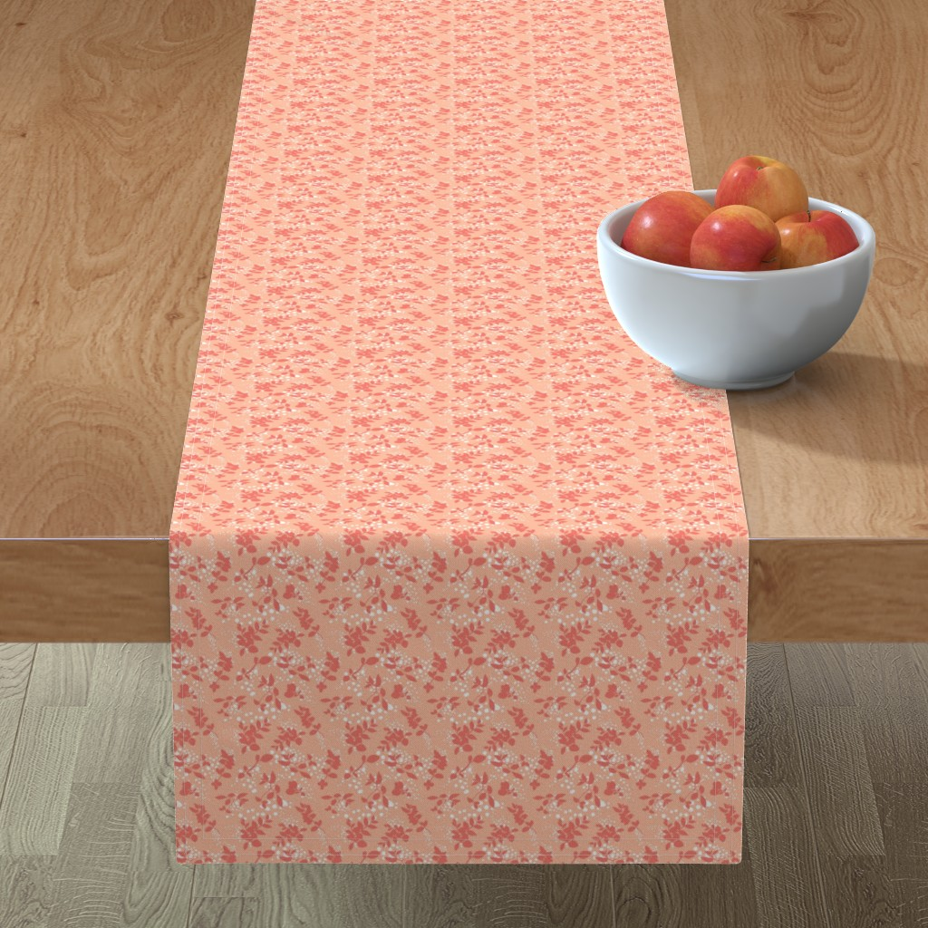 Minorca Table Runner featuring Leaves - Blush with Coral and White by hettiejoan