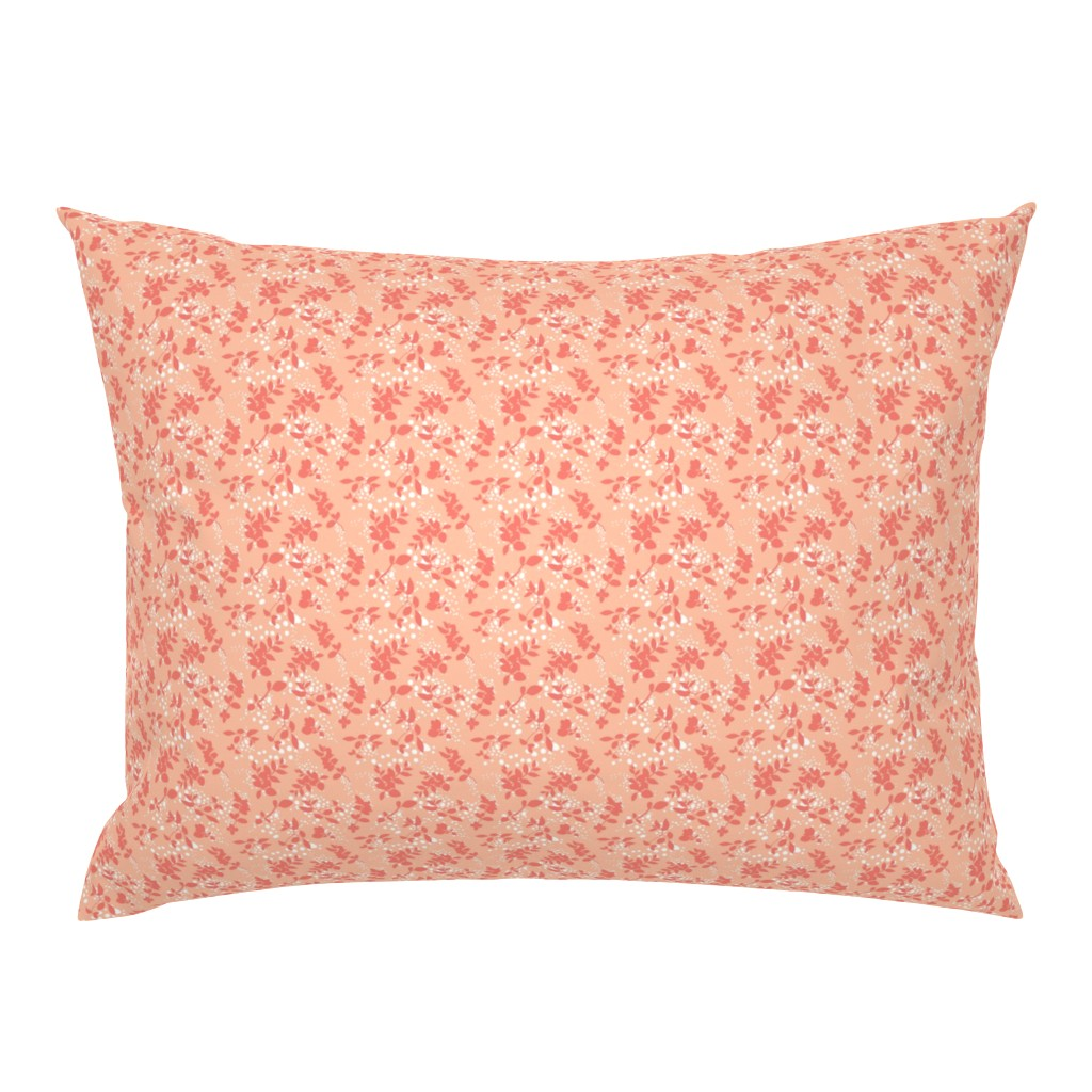 Campine Pillow Sham featuring Leaves - Blush with Coral and White by hettiejoan