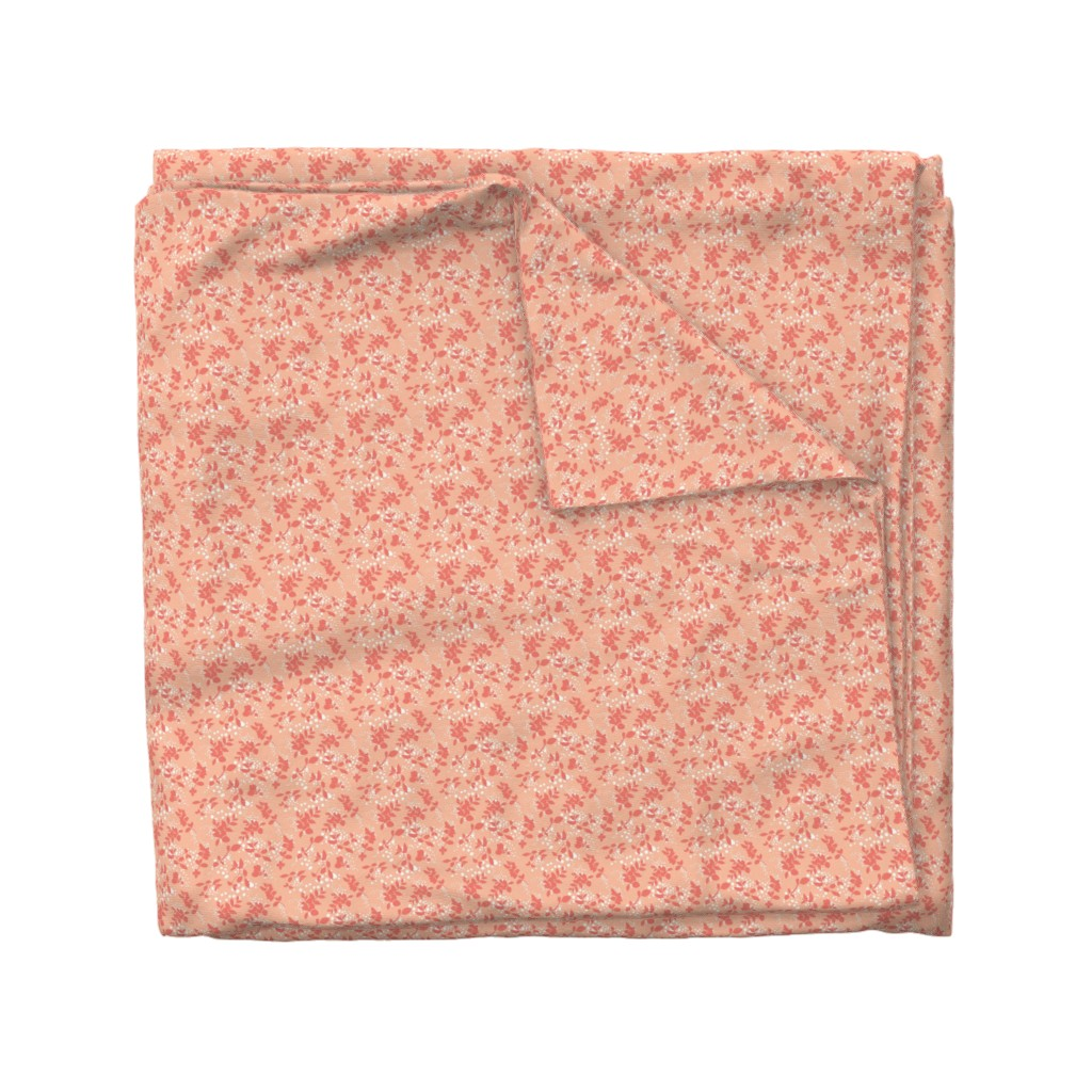 Wyandotte Duvet Cover featuring Leaves - Blush with Coral and White by hettiejoan