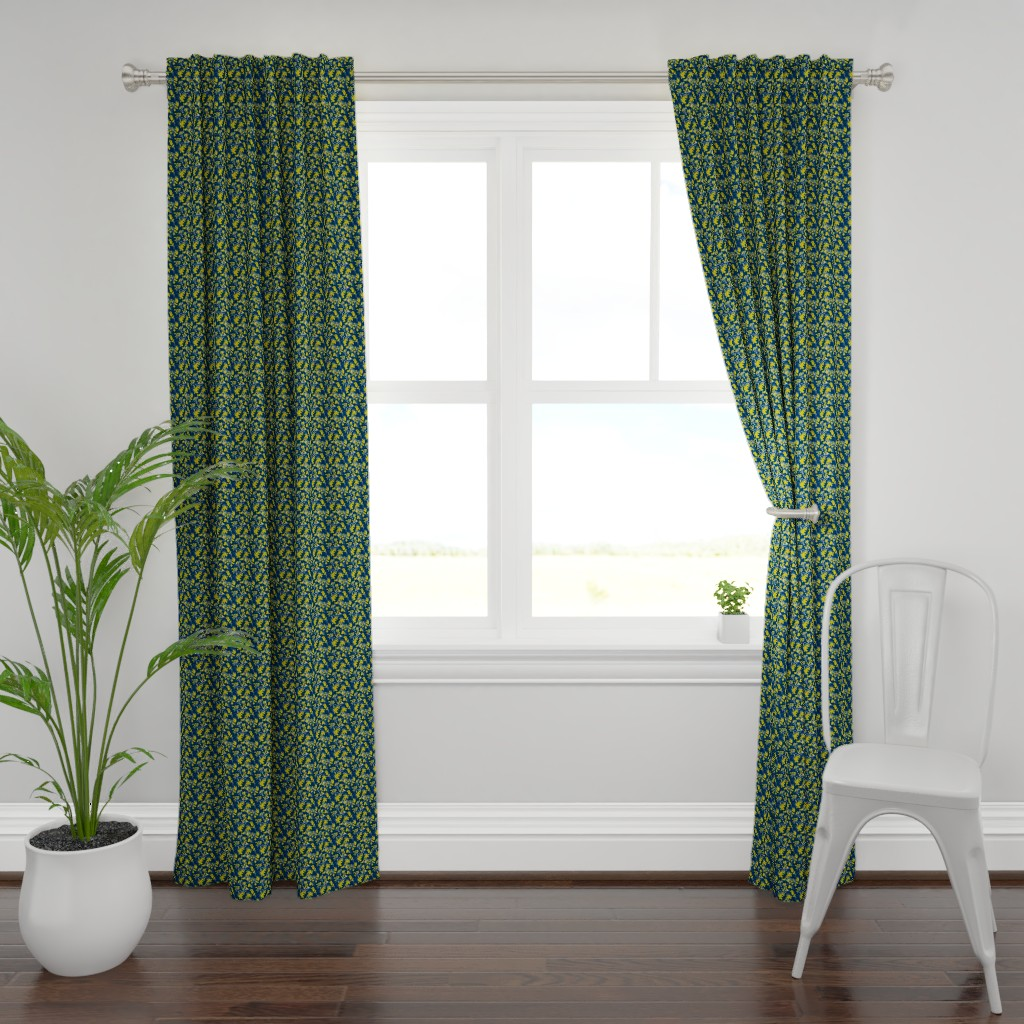 Plymouth Curtain Panel featuring Leaves - Navy with Mustard and White by hettiejoan