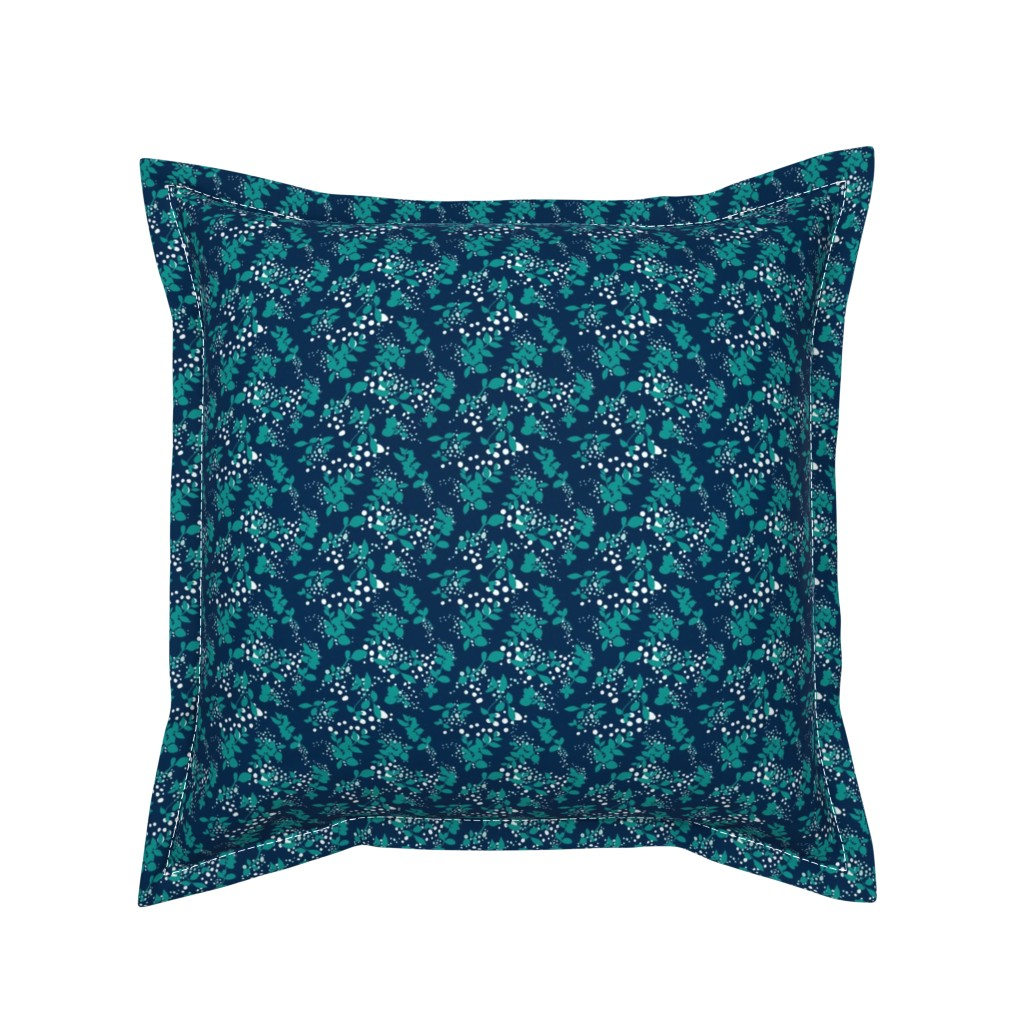 Serama Throw Pillow featuring Leaves - Navy with Teal, White, and Gray by hettiejoan