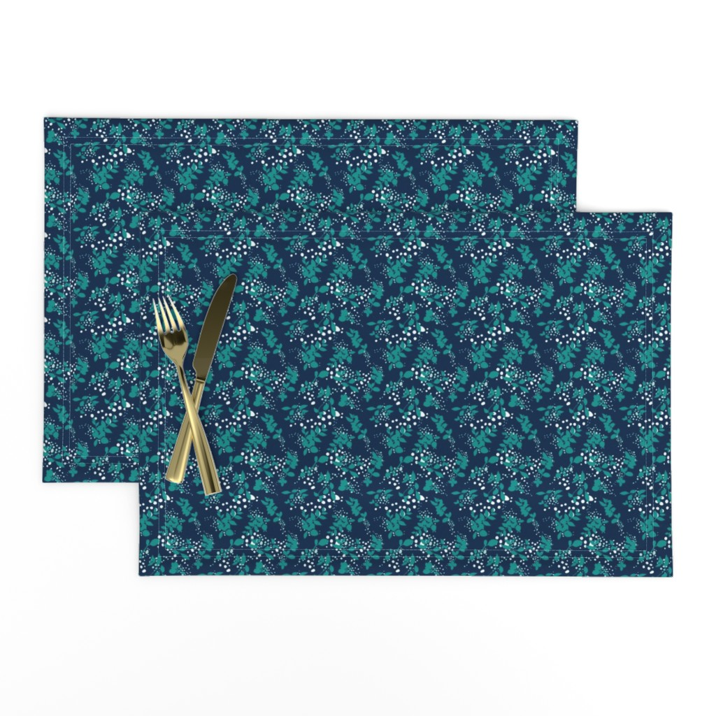 Lamona Cloth Placemats featuring Leaves - Navy with Teal, White, and Gray by hettiejoan
