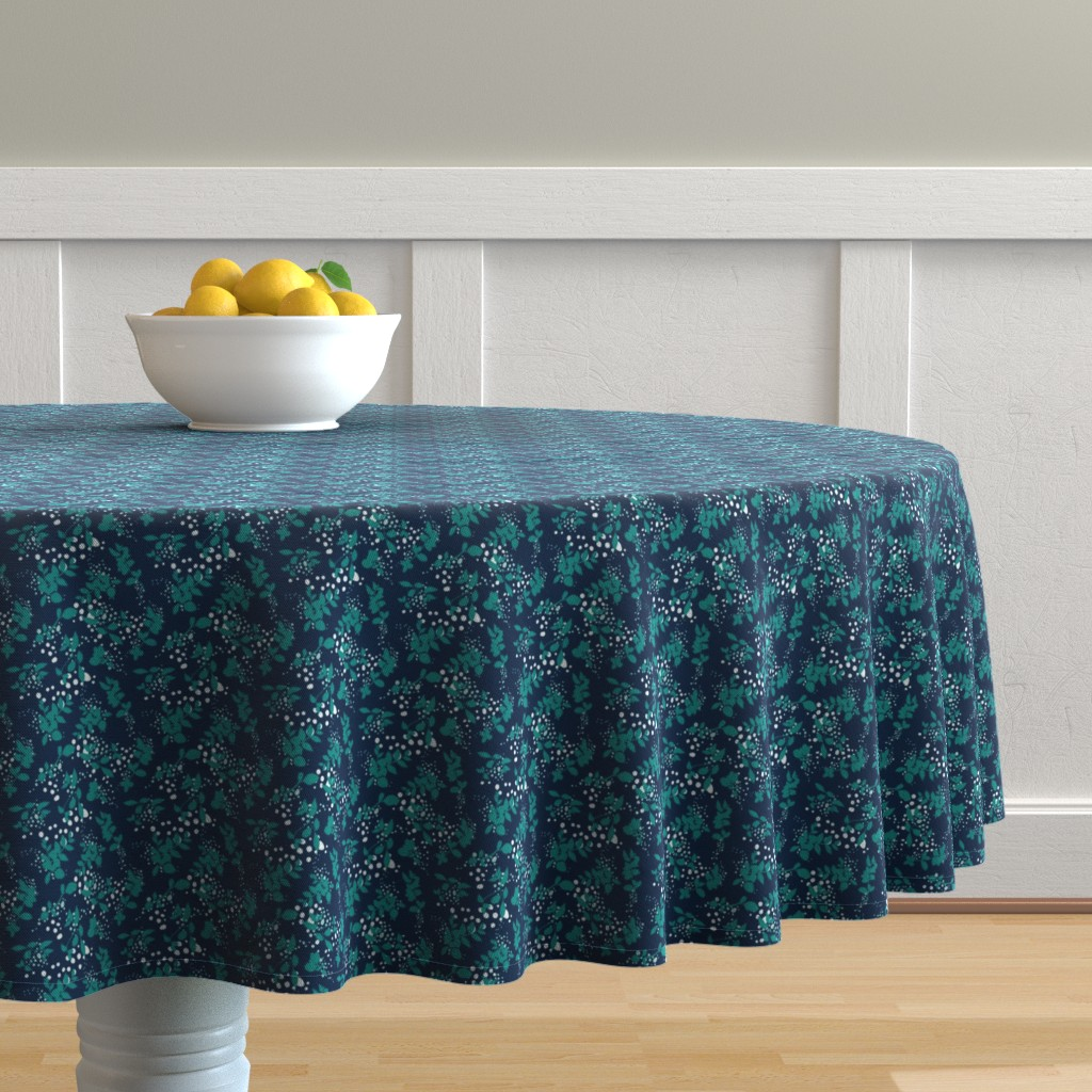 Malay Round Tablecloth featuring Leaves - Navy with Teal, White, and Gray by hettiejoan