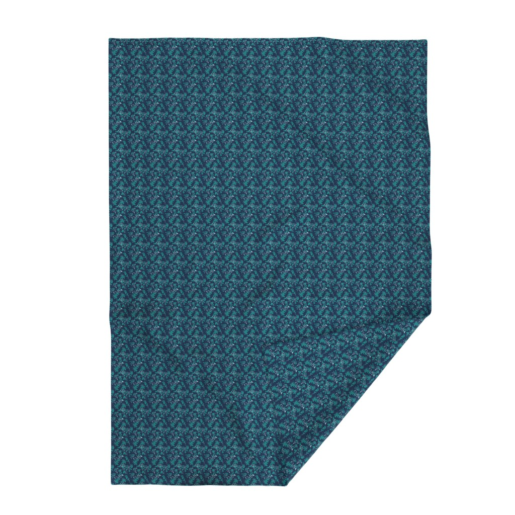 Lakenvelder Throw Blanket featuring Leaves - Navy with Teal, White, and Gray by hettiejoan
