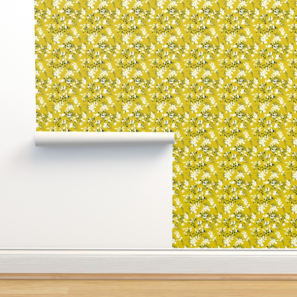 Isobar Durable Wallpaper featuring Leaves - Mustard with White and Navy by hettiejoan