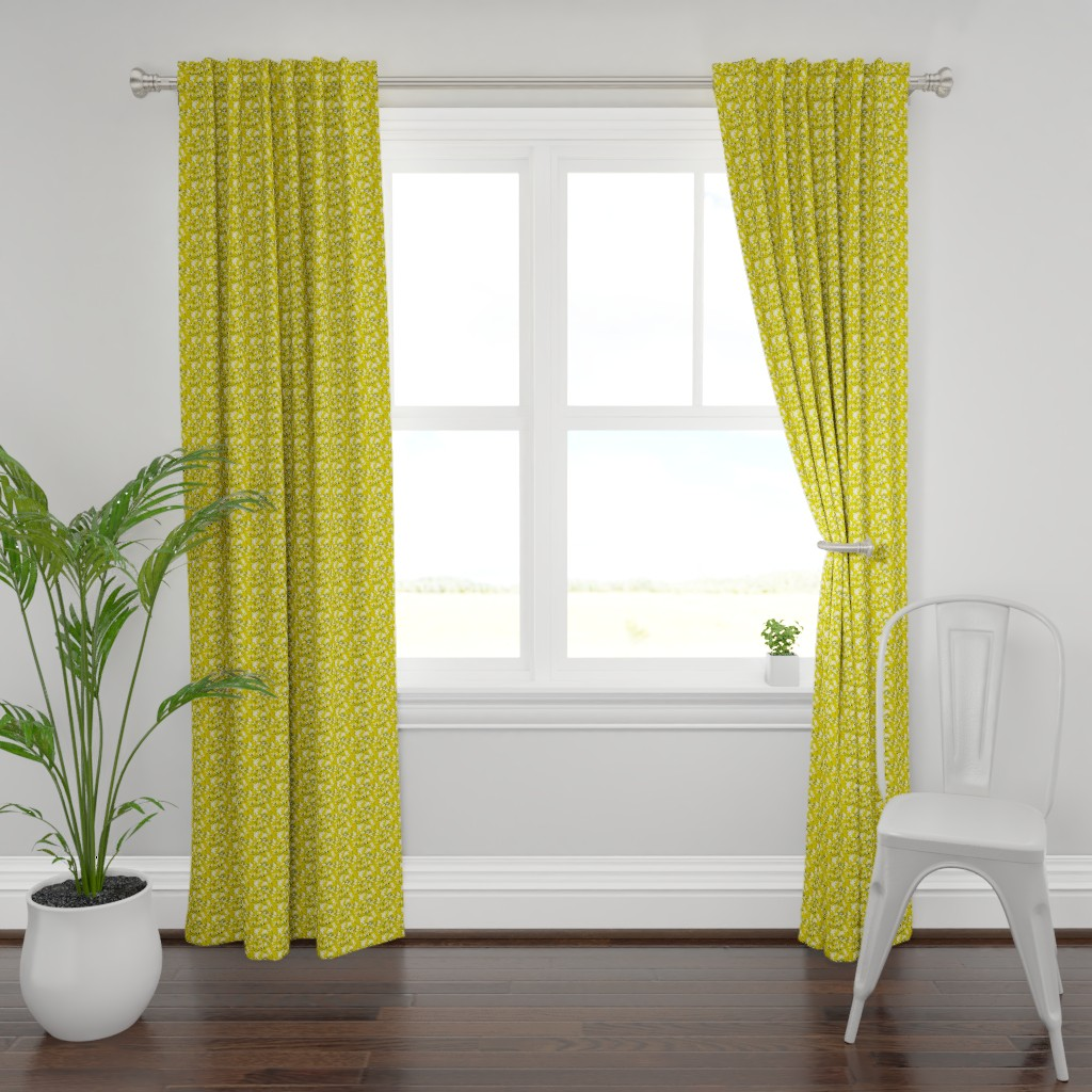 Plymouth Curtain Panel featuring Leaves - Mustard with White and Navy by hettiejoan