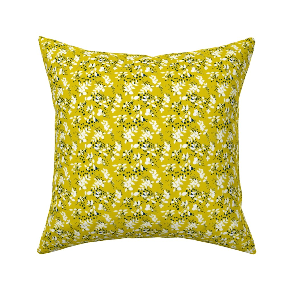 Catalan Throw Pillow featuring Leaves - Mustard with White and Navy by hettiejoan