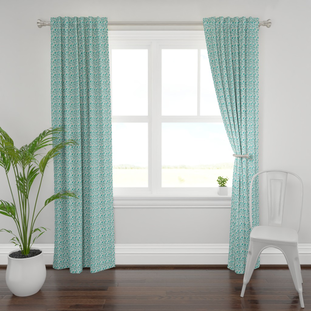 Plymouth Curtain Panel featuring Leaves - Mint with Teal, Navy, and Coral by hettiejoan