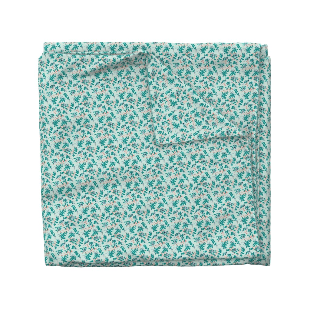 Wyandotte Duvet Cover featuring Leaves - Mint with Teal, Navy, and Coral by hettiejoan