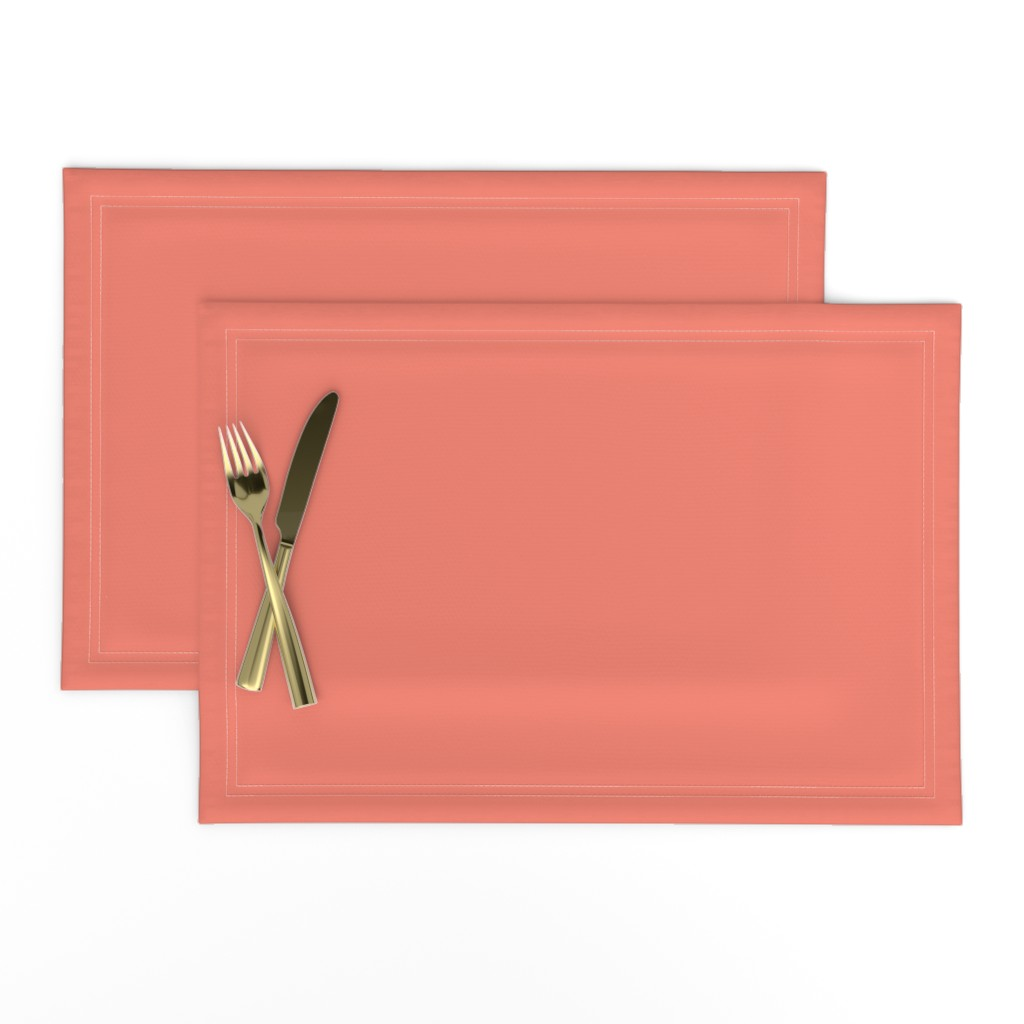 Lamona Cloth Placemats featuring HJ Solids - Coral by hettiejoan