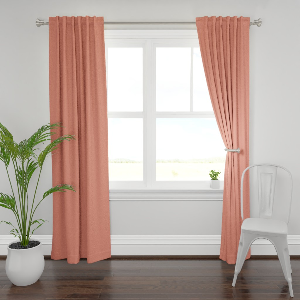 Plymouth Curtain Panel featuring HJ Solids - Coral by hettiejoan
