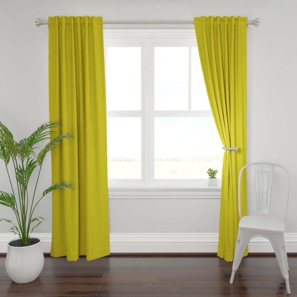 Plymouth Curtain Panel featuring HJ Solids - Mustard by hettiejoan