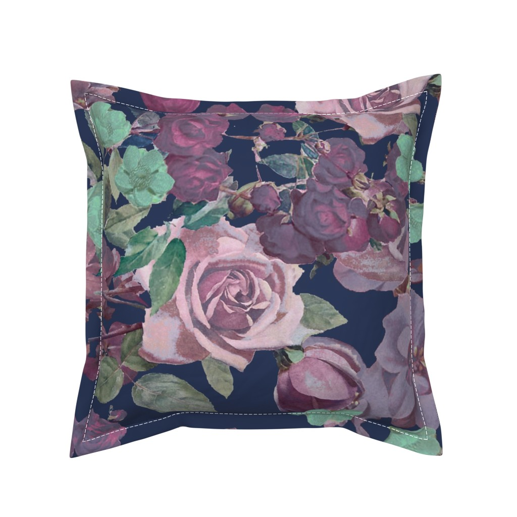 Serama Throw Pillow featuring Antique Floral XL Print // Cool Colors by theartwerks