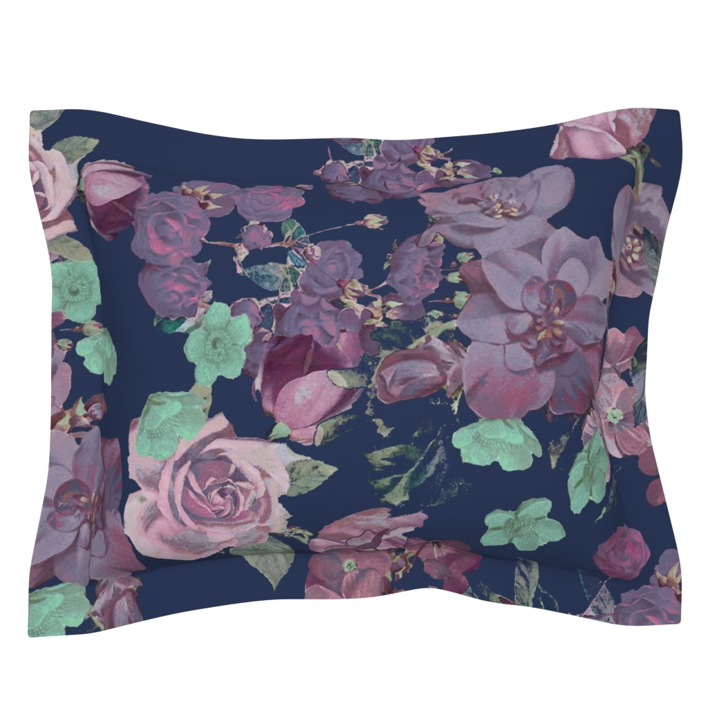 Sebright Pillow Sham featuring Antique Floral XL Print // Cool Colors by theartwerks