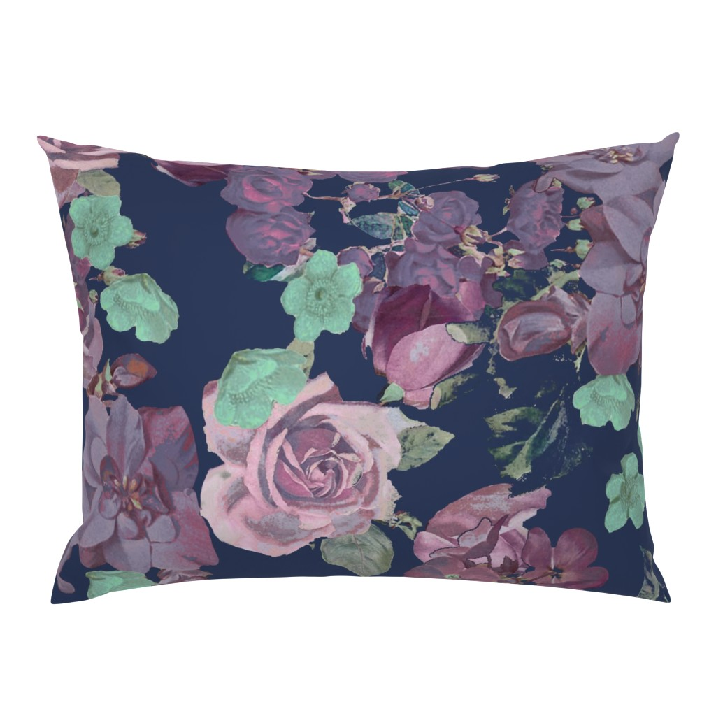 Campine Pillow Sham featuring Antique Floral XL Print // Cool Colors by theartwerks