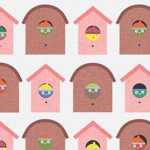 Pink Bird in a Birdhouse P15a2