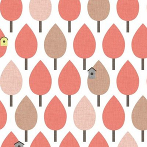 Pink Trees with Birdhouses P19a5