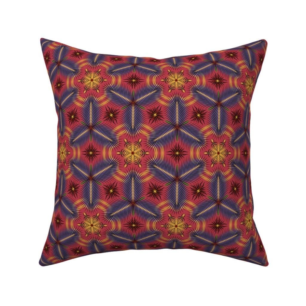 Catalan Throw Pillow featuring Very Feathery red by enid_a