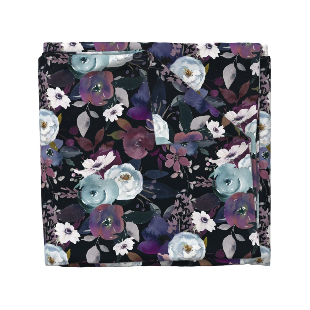 Wyandotte Duvet Cover featuring Moody Midnight Floral  by theartwerks