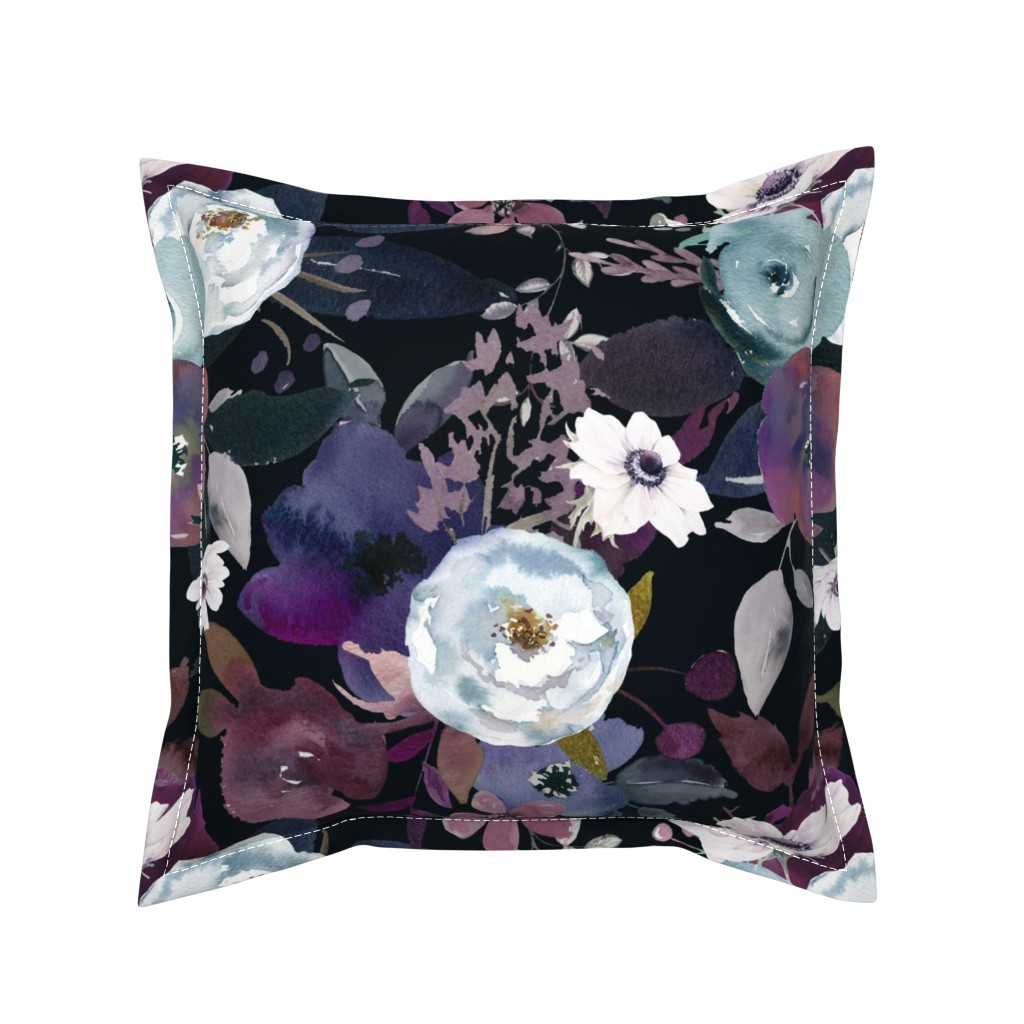 Serama Throw Pillow featuring Moody Midnight Floral  by theartwerks