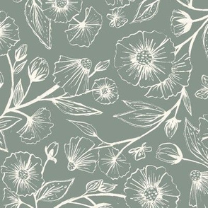 Sketchy Anemones - Muted Blue