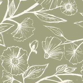 Sketchy Anemones - Pale Green