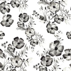 Monochrome Watercolor Floral - SM