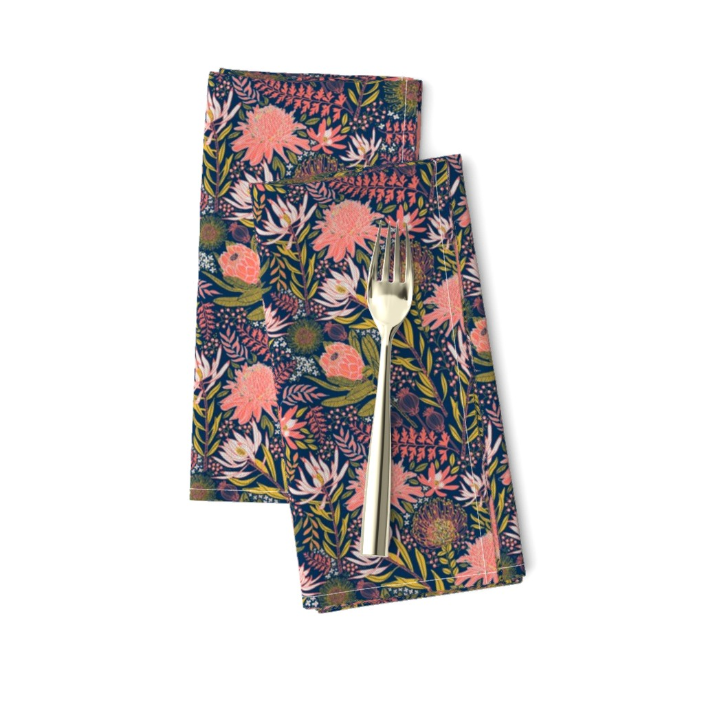 Amarela Dinner Napkins featuring Protea Garden 1.5 Small Print by honoluludesign