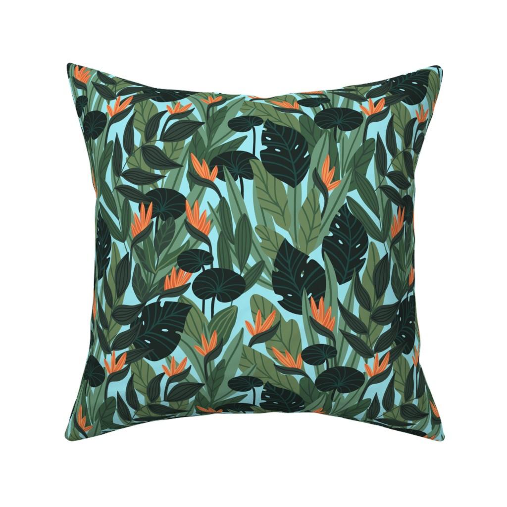 Catalan Throw Pillow featuring Strelitzia in tropical leaves by alenkakarabanova