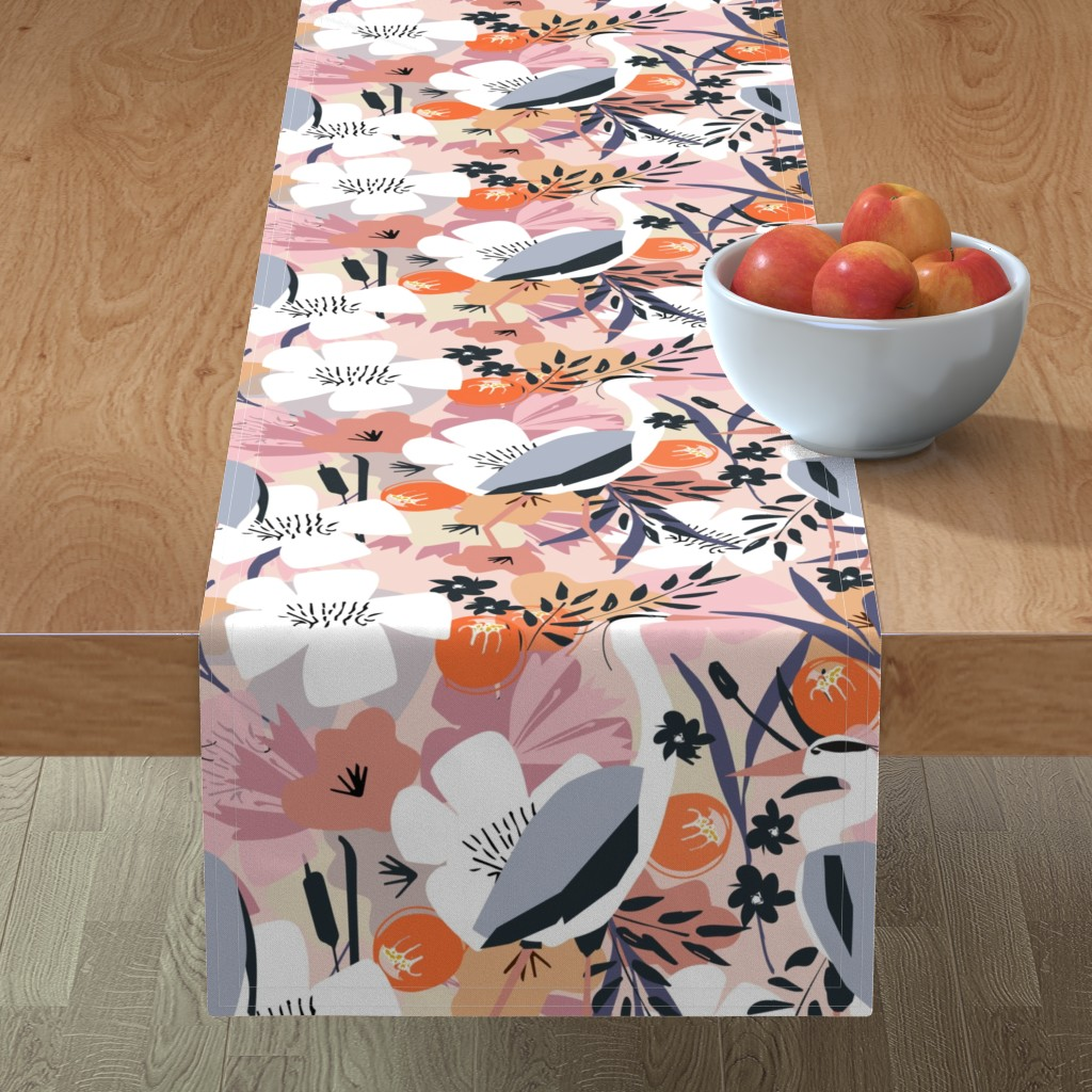 Minorca Table Runner featuring Feather and flower heron by michellemanolov