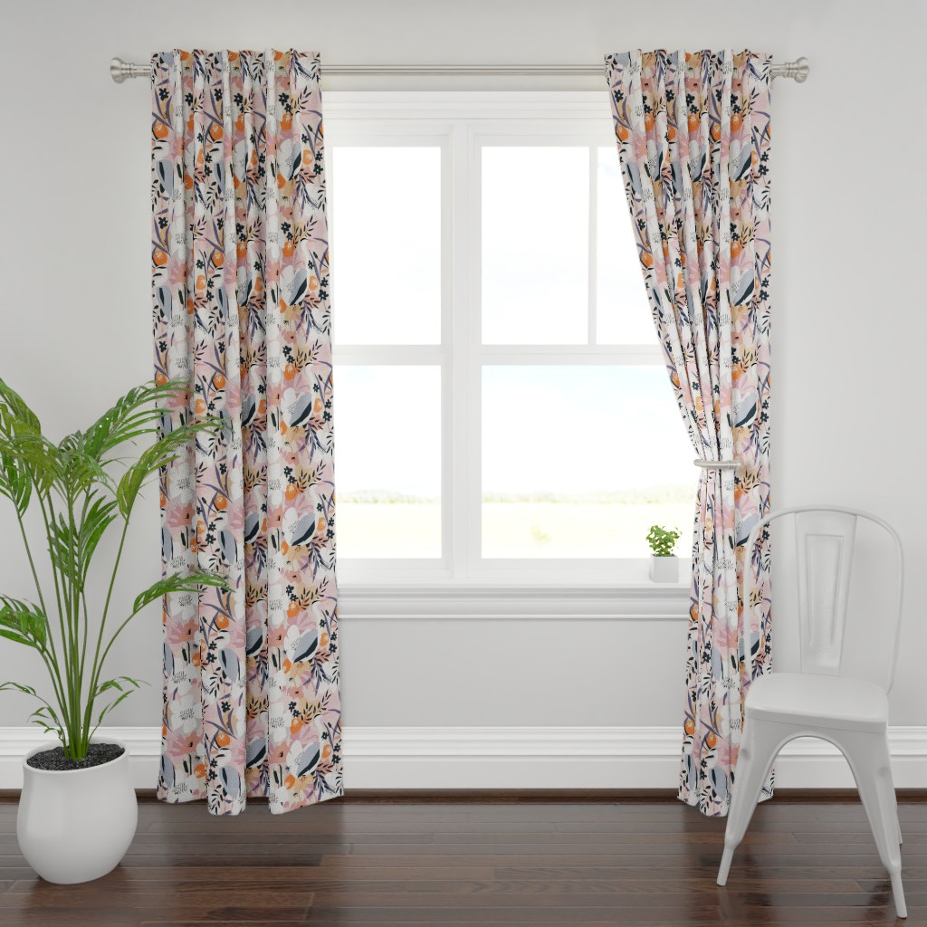 Plymouth Curtain Panel featuring Feather and flower heron by michellemanolov