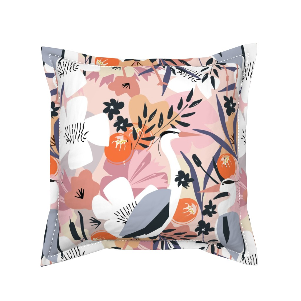 Serama Throw Pillow featuring Feather and flower heron by michellemanolov