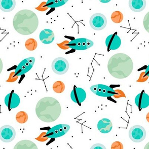 Magic rocket ship astronauts space cool galaxy planet print with moon and stars ROTATED