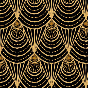 art deco golden beads