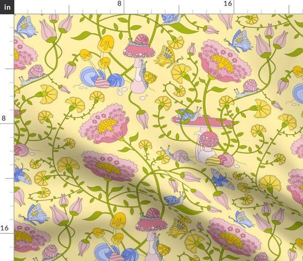 Stoff Meterware Schmetterling Botanisch Blumen Tiere Gelb Rosa Blau Garten