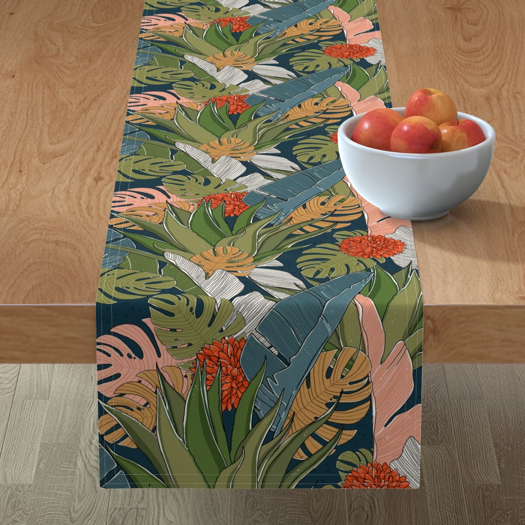 Minorca Table Runner featuring In the jungle, the mighty jungle by hala_kobrynska