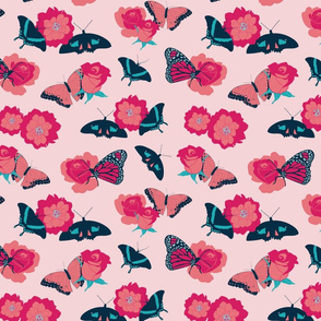 Butterflies and Flowers on Pink