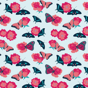 Butterflies and Flowers on Mint Green