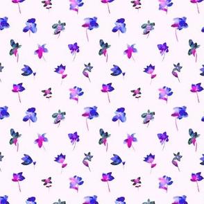 Little watercolor flowers on pink