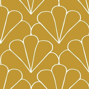 Little shell summer scallop minimal tropical surf print ochre yellow