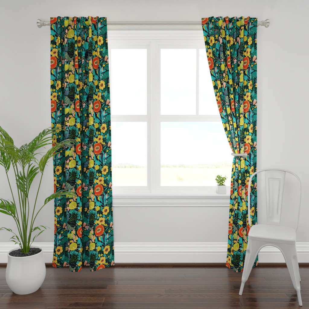 Plymouth Curtain Panel featuring Bohemian Bop  by cynthiafrenette