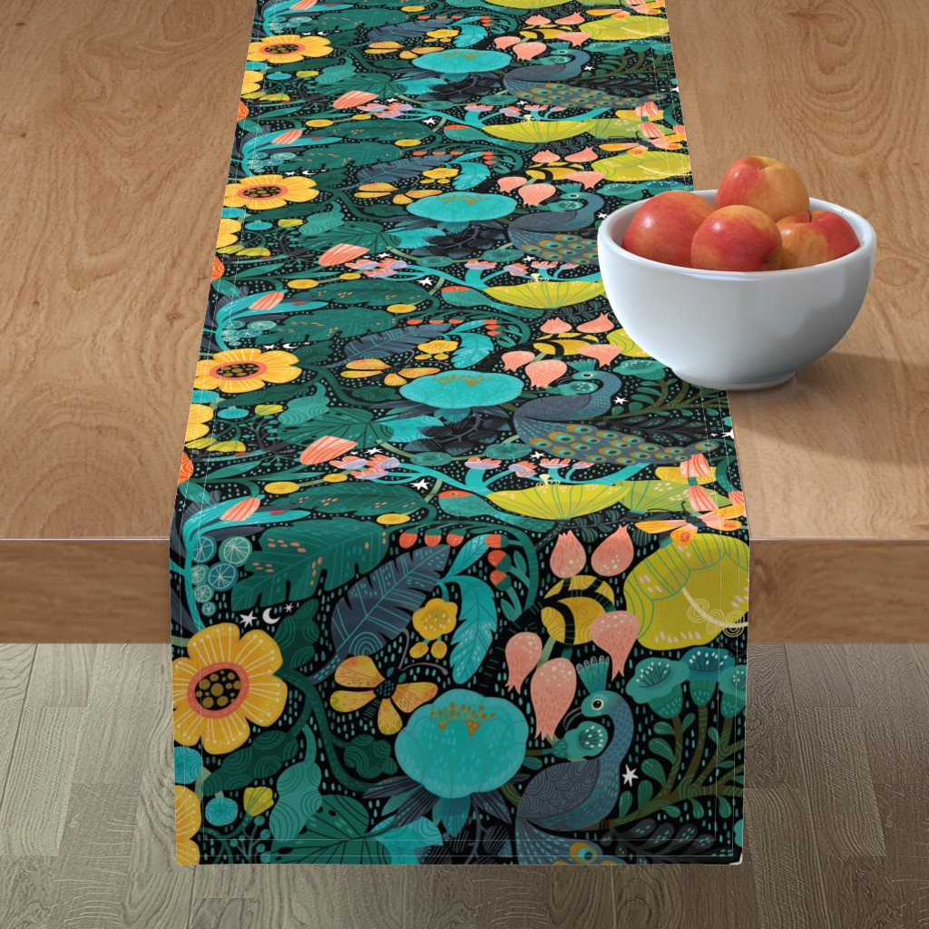 Minorca Table Runner featuring Bohemian Bop  by cynthiafrenette