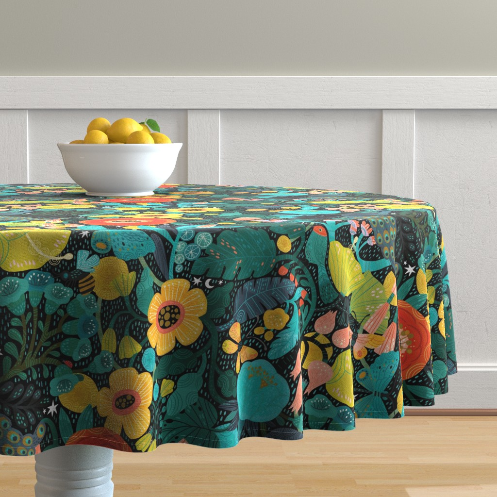 Malay Round Tablecloth featuring Bohemian Bop  by cynthiafrenette