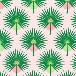 Fan Palm Leaves on Pink Medium