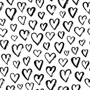 valentines hearts - small scale black and white