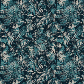 Palm leaves in teal and beige